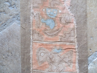 Pre-Columbian handpainted textile, cotton. Sewn to mounting. Size 6 inches x 25 inches.