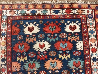 """SOLD! Northern Caucasian rug 19th C last quarter, bought from James Opie many years ago and hung on a wall.  Good pile with end loss as shown. 3'1"""" x 5'1""""   ..."""
