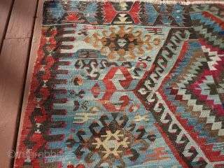 Antique Anatolian kilim about 10' x 5'   Substantial but not 100% complete--see pictures.  Rare blue ground with many interesting details. $1200 US plus shipping.