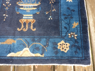 "SOLD__THANK YOU! Pretty Chinese rug 5'8"" x 35"" in nice condition.  Approximately ""art deco"" age--possibly older? Shiny, high quality wool but looks more dull than it should in my pictures because  ..."