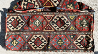 """Original, fine, antique, complete killim mafrash in great colors and condition. All colors are natural. Great condition and absolutely fine weave. size small panel 1'-6""""x1'-7"""", large panel 3'-2""""x1'-6""""."""