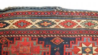 Extremely rare, antique memling gul shahsavan small mafrash panel, great colors and rare design for mafrash.