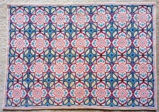 Antique Swedish cross stitch wool on linen, no: 381, size: 53*53cm.