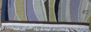 Antique France or Norwegian tapestry Kilim, no: 292, size: 64*54cm, pictorial design, signed M, silk and wool on cotton .