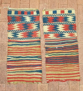 Small flatwoven tribal zigzag bags probably Kurdish. Coarse weave and all natural dyes. 