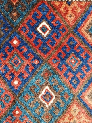 Unusual LONG Jaff Kurdish bagface rug with thick lush pile.   I have not seen any Jaff bagfaces so long.... measures roughly 102 cm x 43 cm   Super quality wool - soft soft  ...