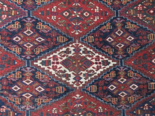 "Afshar main rug, allover short pile, center has low pile. Images show it all. Circa 19th cent. size : 80"" X 65.5"" -- 204 cm X 167 cm"