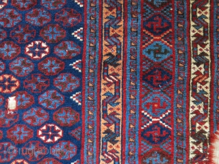 "Luri tribal half piece fragment of a tent entry door rug. still has good pile at most places. Circa late 19th - size : 90""X 35"" -- 230 cm X 89 cm"