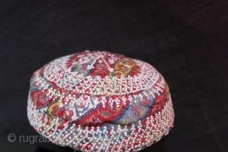 "Azerbaijan Silk emboidery skullcap circa 1900 or earlier - size: 6"" in diameter - 2.5"" tall //  15 cm - 6 cm"