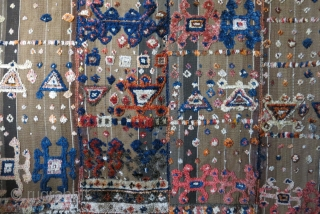 "Northern Iraq- Kurdish knotted palas - Warpface weave with pile. woven in panels. few samll holes restored. Circa 1900 -1920s. size: 69"" - 54"" -- 176 cm X 138 cm"