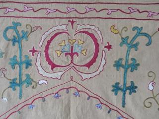 "UZbekistan - bokhara Nim suzani, fine chain stitch embroidery, natural dyes. Circa 1900 Size: 59"" X 39"" -- 150 cm X 100 cm"