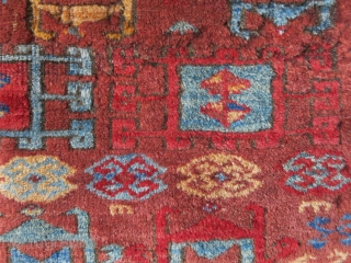 "Eastern Turkey - Kurdish rug fragment good pile and colors- wears can be seen. Circa second half of 19th or earlier. Size: 26"" X 15.5"" - 66 cm X 38 cm"