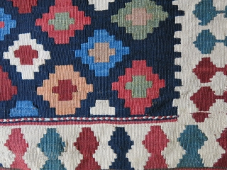 Shahsavan tribal antique kilim bag face with saturated natural dyes. There is a very small Fuchsine which indicatesit is form 1870-80s It has faded in front. It can be seen in back  ...