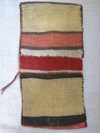 """Shahsavan mini sumak double bag. end cornor repairs and few tiny repair touches. Circa 1900/earlier size: 14"""" X 7"""" - 36 cm X 18 cm"""