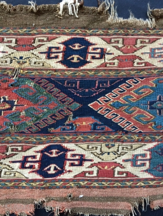 Shahsavan  hamamlu all colors natural dyes and warp silk 1840s   size 43x92cm