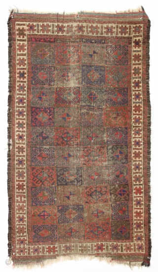Antique baluch. All good natural colors with nice greens, purples and strong reds. Turkish knotted. A bit worn. Needs a wash. Just when you thought it was safe to look at RR,  ...
