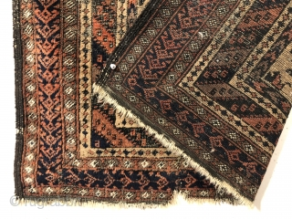 """Antique camel ground Baluch prayer rug. Older example with good drawing and colors but very rough with wear and heavy brown oxidation. Priced accordingly. 3'1"""" x 4'7"""""""