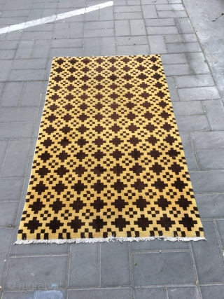 Tibetan rug, yellow background with cross brown checker veins. Size 160*92cm.