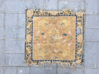 """Ningxia rug, camel yellow background with lively five dragons mat, it was produced in Kangxi Dynasty, very good age. Size 67*65cm(26*25"""")"""