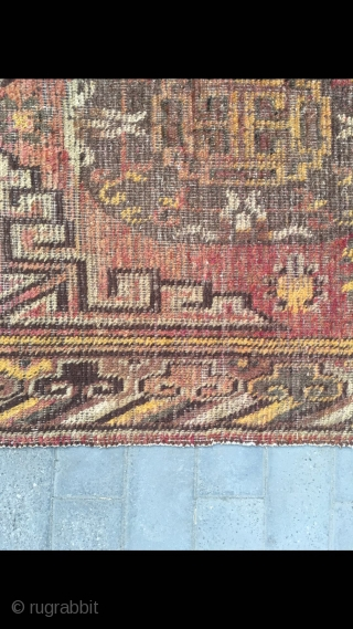 """Xinjiang Khotan rug, red background with double group flower pattern, synthetic colors, lucky clouds selvage. Size 270*136cm (105*53"""")"""