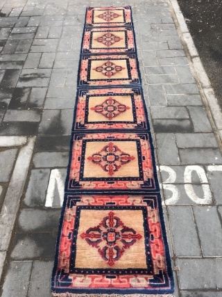 """Ningxia runner carpet, six joined mats, light camel background with Buddha turns wheel veins. Very good age and condition.size 355*60cm(138*23"""")"""