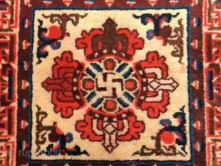 "Ningxia rug, Buddha's warrior attendant's stick pattern, very nice color, good age and condition. Size 65*65cm(25*25"")"