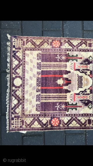 """#2040 Chinese Baotou rug, it is a prayer rug by Moslem. Good age and quality. Size 118*73cm(46*28"""")"""