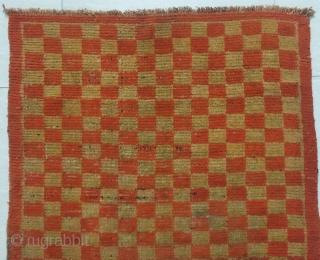 """Tibet rug, red /yellow checker board pattern. Good age and condition. Size 80*150cm(31*59"""")"""