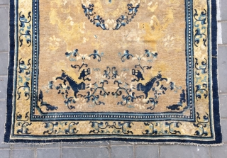 """Chinese Ningxia rug, Eight lions, pattern, it was produced in early Qing Dynasty. Size 130*180cm(50*70"""")"""