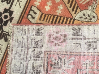 """Xinjiang Khotan rug, red background with two tigers pattern. Good age about 120 years. Size 142*266cm(55*103"""")"""