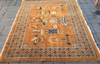 """Chinese Baotou rug, camel background with Ancient Chinese vases and flower patterns . Good condition. Size 140*210cm(55*82"""")"""