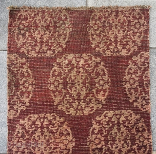 "Tibet rug, red background with group flowers pattern. Good age and condition. Size 70*133cm(27*52"")"