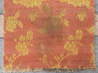 "Tibet rug, orange  background with golden peony flowers. Good age and condition. Size 80*145cm(31*57"")"