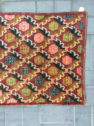"""Tibet rug, red background ,Chinese geese fly south, full of lucky clouds veins. Wool warp and weft. Good age and condition . Size 153*86cm(60*34"""")"""