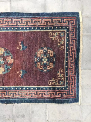 "Tibet rug, very rare color, wool warp and weft, going age and condition. Size 150*78cm(58*30"")"