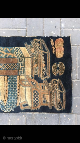 """Chinese Baotou rug, blue background with Bogu vase and flowers vines. Good age and condition. Size 66*130cm(26*51"""")"""