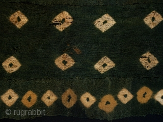 "Textile fragment, Nasca culture, Peru. 6-8th c. A.D. camelid wool. 21"" (53.3 cm) by 11"" (28 cm) mounted on a larger piece of black cotton fabric. Wonderful colors, damage as seen in  ..."