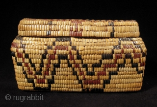 """Fully imbricated lidded basket. Native American, Columbia River. Reeds, cedar bark. 9"""" wide by 3"""" high (23 by 7.5 cm). Last quarter 19th century."""