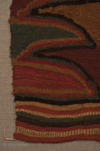 """Pechera (chest panel). Sihuas Valley, Peru. A.D. 200-400. Original condition, professionally mounted. Camelid wool. 33"""" (76 cm) high by 15"""" (38 cm) wide."""