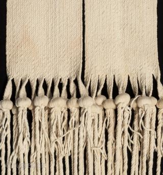 "Hopi rain sash, San Juan Pueblo, New Mexico. Hand woven cotton, corn kernels, mid 20th century, 94"" (238.6 cm) long by 5.5"" (14 cm) wide. Ex. private collection, New York.   This rain sash  ..."