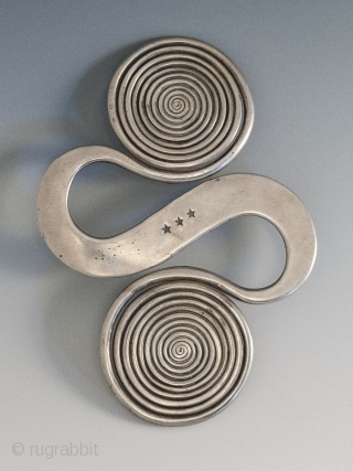 "Apron counter weight, Miao or Dong culture, Guizhou, Hunan or Guangxi Province, China. Silver, 5.5"" (14 cm) high, 136 grams. Early 20th century."