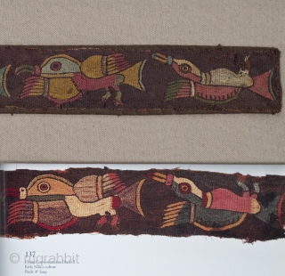 """Border fragment to a mantle, Nasca culture, Peru. Camelid wool yarns (alpaca, llama and vicuna), natural dyes, 100 B.C. to 100 A.D. 24"""" (61 cm) wide by 2"""" (5 cm) high. Professionally restored and mounted. Six colorful cormorants  ..."""