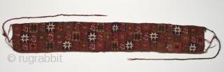 "Bag belt, Inca, Peru. Camelid wool, 30"" (76.2 cm) wide by 4.5"" (11.3 cm) high. 1350 - 1550 A.D."