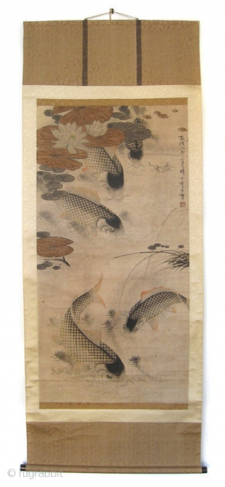 Chinese Antique Carp Scroll by Li Fang Yin