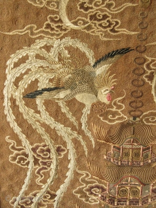 Japanese Meiji Tokugawa Rope Embroidery on Silk of Two Phoenixes    Japanese rope embroidery on silk, the image is a pair of phoenixes, male and female, with the moon waxing and waning (full and  ...