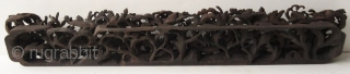 Antique Japanese Carved Panel of Chrysanthemums   Beautiful hand carved Japanese wood panel with stylized openwork carvings of various scrolling chrysanthemums and peonies. Each flowing one to the next layer out longitudinally on a  ...