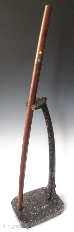 An Unusual Japanese Inlaid Laquer Sword Stand