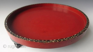 Edo period Japanese Circular Red and Black Lacquered Inlaid Stand