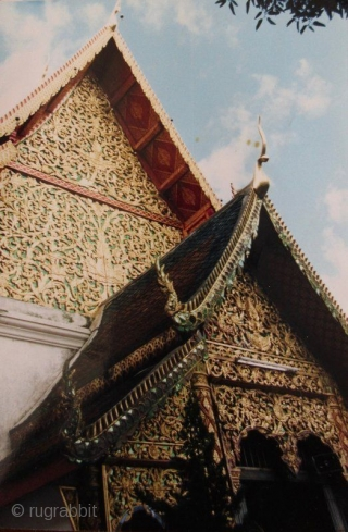 Antique Thai Chofa Temple Roof Adornment  Unusual Thai architectural sculpture known as a chofa. These beast-like ornaments embellish temple and palace rooftops as a symbol of power and protection. Natural patina and remnants  ...