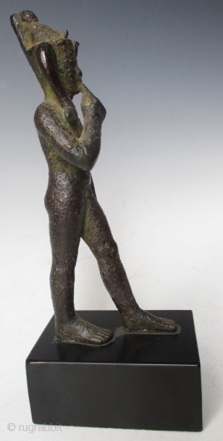 Rare Antique Egyptian Bronze Walking Nobleman